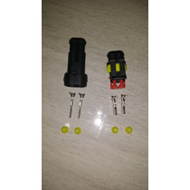 Plug Conector A Prova D Agua 2 Vias Carro E Moto Kit 10 Unid