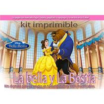 Kit Imprimible La Bella Y La Bestia Candy Bar Tarjetas