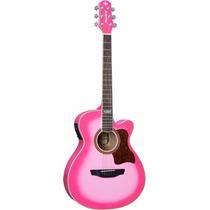 Violao Eletrico Afinador Strinberg Aço Pink Rosa Feminio