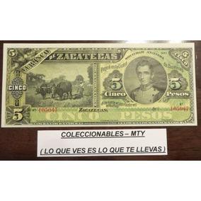Billete Antiguo (banco De Zacatecas 5 Pesos Sin Firmas) Unc