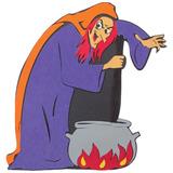 Decoração Halloween Bruxa Com Caldeirão C/ 1 Peças Eva