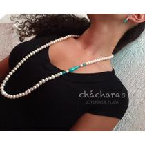 Envío Gratis Collar Jovita Perlas De Río, Ágata Verde Yplata
