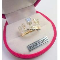 Hermoso Anillo Plata Y Oro Corona Con Piedras Cubic!!