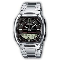 Relógio Masculino Anadigi Casio Aw-81d-1av- Inox/preto