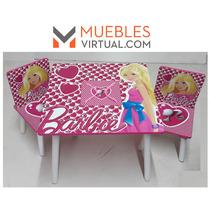 Mueble Infantil Barbie- Mesa Con Guarda Juguetes Y 2 Sillas
