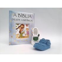 Ak11 Kit 3 Sapatinhos De Croche E 1 Biblia Do Bebe Menino