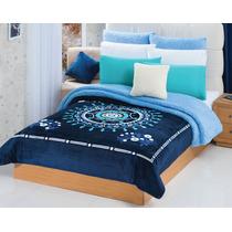 Cobertor Borrega Suzani 2ª Vista Azul Matrimonial/individual