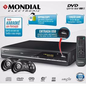 Dvd Player Mondial Game Star Ii D-14 Com Karaokê Entrada Usb