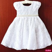 Vestido Infantil Daminha Batizado Princesa Renda Com Faixa