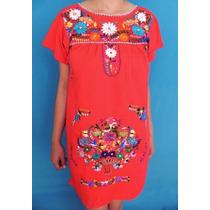 Vestido Rojo Corto Bordado 100% A Mano, Comodo Y Elegante