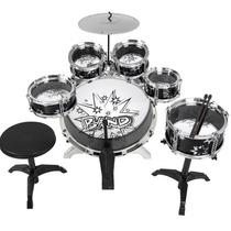 Bateria Musical Negra Niños Infantil Roja Drum Instrumentos