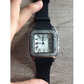 Reloj Cartier Jubile Santos Xl Acero Plateado Correa Negra