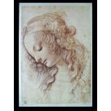 Gravura Italiana Leonardo Da Vinci Testa Femminili 50 X 35cm