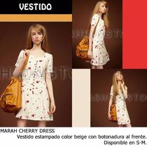 *fashionstore* Marah Cherry Dress. Vestido Beige Estampado