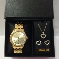 Relógio Lince Lrg4338l + Brinde Conjunto Folheado A Ouro