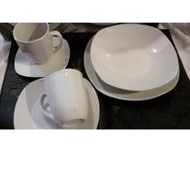 Vajilla Blanca 30 Piezas En Porcelana Cuadrados