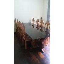 Mesa Vidro Temperado Com Pé De Madeira Bruta + 8 Cadeiras