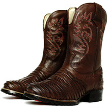 Bota Texana Country Casco Tatu Cano Alto Couro Palmilha Gel