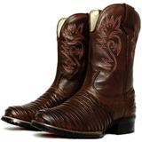 Bota Texana Country Casco Tatu Cano Alto Couro Palmilha Gel