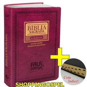 Bíblia Letra Gigante Rosa Rc Índice Palavras Jesus Vermelho