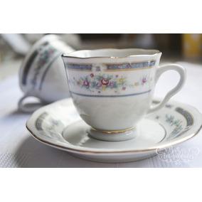 Antiguo Juego De Tazas Vintage De Café X6 C/plato Nuevo