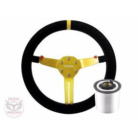 Volante Esportivo Lotse Rg-t Dourado C/ Cubo E Frete Incluso