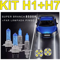 Kit Lampada Super Branca Farol Alto Baixo Gol G5 H1 H7 Pingo