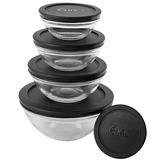 Conjunto De Potes Em Vidro 5 Peças Com Tampa Preto - Euro