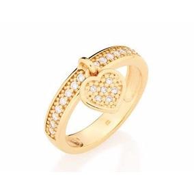 Anel Aliança Coração Zircônias Folheado Ouro Rommanel 511376