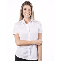 Blusa Socia Feminina Branca Manga Curta Cam - Pimenta Rosada
