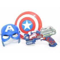 Máscara Capitão América + Lançador Nerf+ Escudo