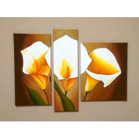 Cuadros Tripticos Polípticos Florales Texturados Calas
