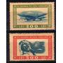 2 Estampillas Rumania Aereas Tema Aviones Año 1946