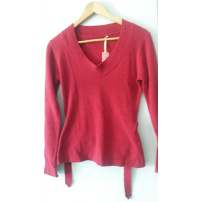 Hermoso Sueter Con Cinto Color Rojo-bordo