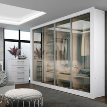 Guarda-roupa Casal 4 Portas De Vidro Reflecta Madesa Branco