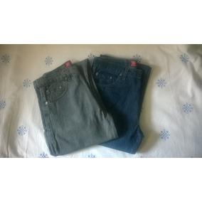 Par De Jeans Clásicos Para Hombre- Azul Y Gris -talle 38