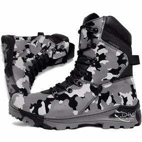 Bota Masculina Coturno Cano Médio Militar Couro Dhl Calçados
