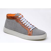 Bota Coturno Masculina Sneaker Em Couro Com Lona Skate