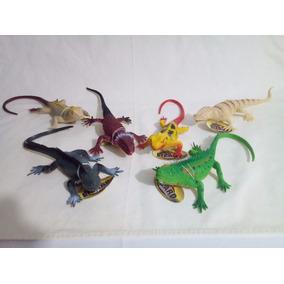 Paquete 6 Lagartijas Iguanas C/chirrido Grandes 30cm Nuevas!