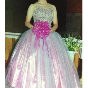 Vestido De Diseñador Para Xv Años Rosa Con Plata.