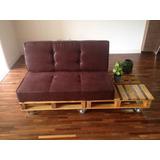 Sofá De Pallet C/ Estofado E Rodinhas (assento E Encosto)