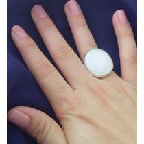 Anel Feminino Prata 950 Maciça Madrepérola Rosa Ou Branca