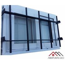 Ventana De Aluminio Blanco 60x40 Con Reja Y Mosquitero