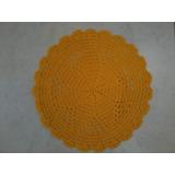 Toalha De Mesa Redonda Amarela Em Crochê 32cm