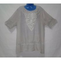 Camisa Bata Plus Size Rendada Guipir Gg Feminina + Brinde