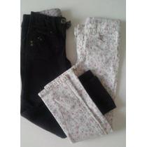 Pantalon Niña Negro Zara Talle 5/6 Y Floreado Cheeky Talle 8