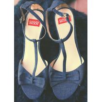 Zapatos Importados Mujer Jean De Taco Chino Con Lazo
