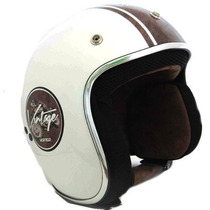 Casco Abierto Vertigo Retro Blanco Negro En Freeway Motos !!