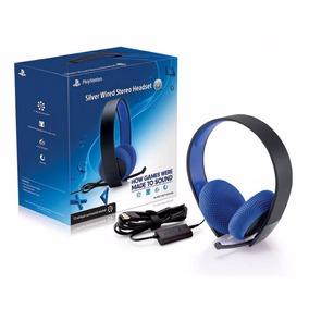 Headset Silver 7.1 Stereo Fone Sony Com Fio Ps4 Ps3 Vita Pc