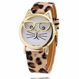 Reloj De Gato Con Gafas Mujer Con Pulsera En Cuero Tipo